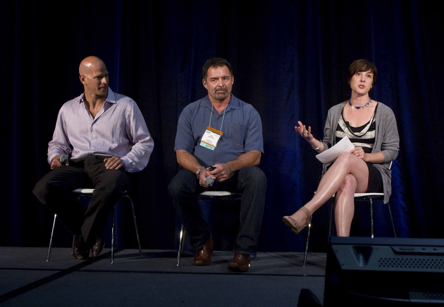 """American Public Media's Eve Troeh, who reports from the Marketplace Sustainability Desk, hosted a panel discussion on consumer issues surrounding sustainability. """"It's not sexy, but real sustainability stuff is not sexy. It's reusing stuff, buying things"""
