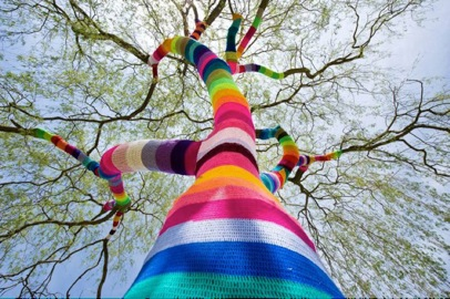 Here's one of Agata Olek's random acts of yarn.