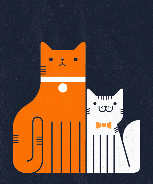 "Illustrations of feline friends as seen on <a href=""http://meowoodle.tumblr.com/"">Meowdoodle</a>."