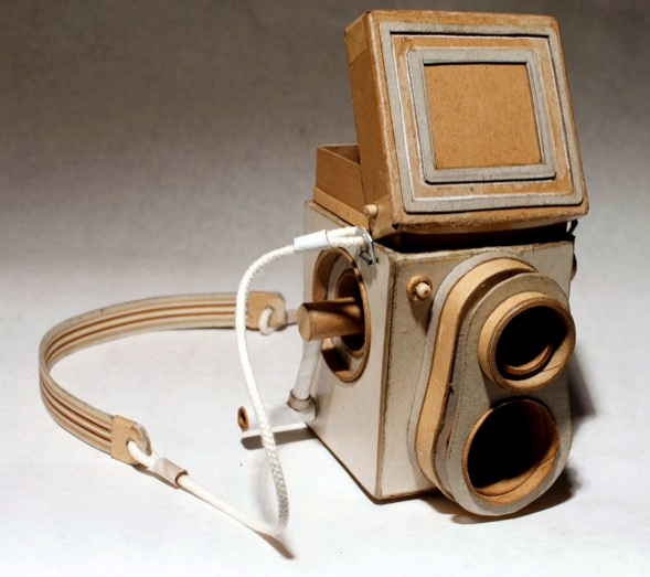 "Nothing more than cardboard, tape and rubber bands in <a href=""http://anthologymag.com/blog3/2011/03/25/the-dig-kiel-johnson/"">Kiel Johnson's Cardboard Cameras</a>."