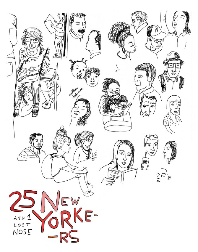 """An illustration of 25 New Yorkers by <a href=""""http://cargocollective.com/marianogueira"""">Maria (Walnut) Nogueira</a>."""