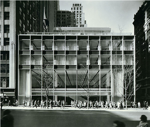 The Manufacturers Hanover Trust Building (shown here in 1954) is located at 43rd Street and Fifth Ave. in New York City. The open steel-and-glass facade is considered a model of Modernist design.