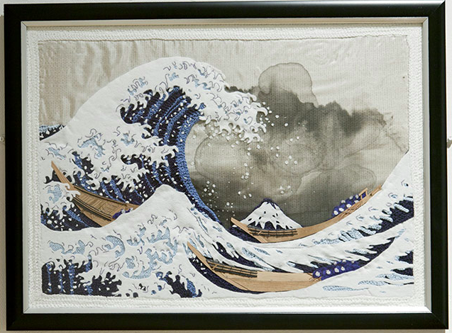 A Japanese print featured in <i>The Art of Knitting: Masterpieces Reimagined</i>.