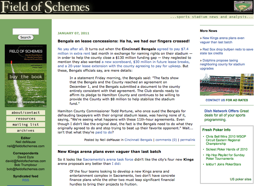 Fieldofschemes.com is the companion website to Field of Schemes: How the Great Stadium Swindle Turns Public Money Into Private Profit, by Joanna Cagan and Neil deMause.