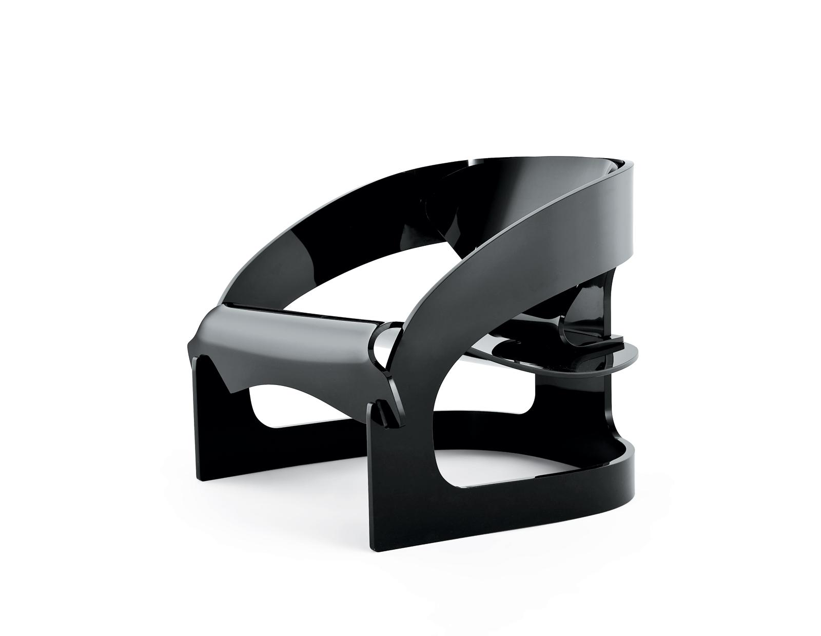 mid-century designer Joe Colombo Kartell 4801 black chair reissue