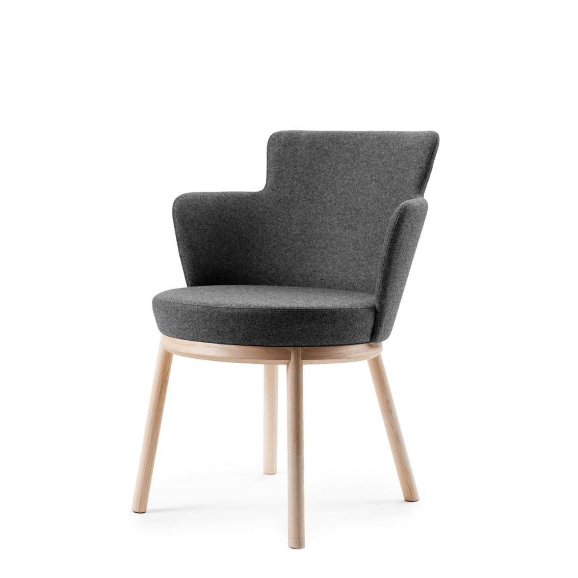 The Zen conference chair by Åke Axelsson, a Småland–born designer who has been making wood furniture pieces since the fourth grade. The ash chair has rounded legs, and can be covered in fabric or leather.