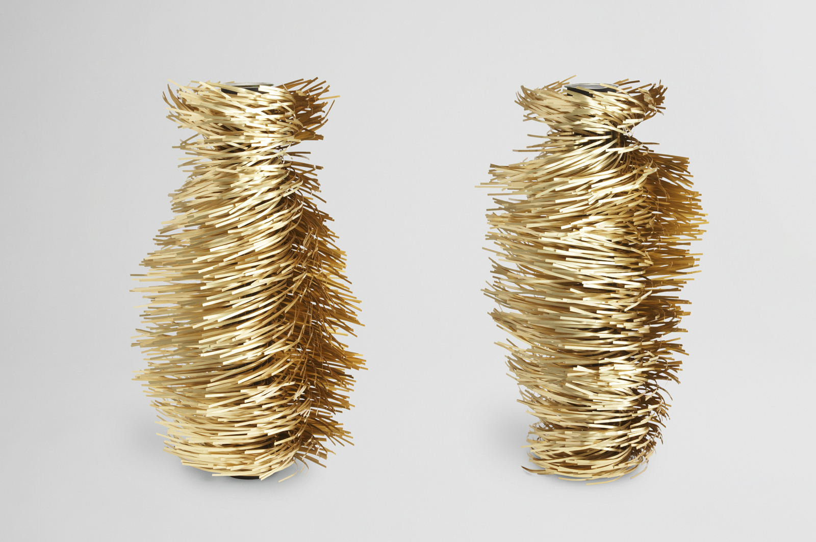 Miller used brass, aluminum and glass for the 2009 Hirsutio Vases.