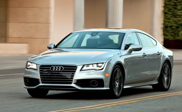 """Audi is bringing its A7 sedan to the ride-and-drive to illustrate how its advanced design, low aerodynamic drag, and extensive use of lightweight aluminum helps overall efficiencies. """"Elegant design and sophisticated performance,"""" in Cogan's estimation."""