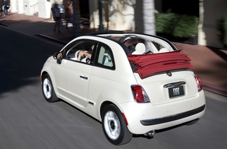 """The 2012 Fiat 500 is so new it's a fresh face on the streets of L.A. It's appeal, according to Cogan, is that it's """"a fun and nostalgic design, has high fuel efficiency from its gasoline engine, it's fun to drive, and has a great retracting soft top."""""""