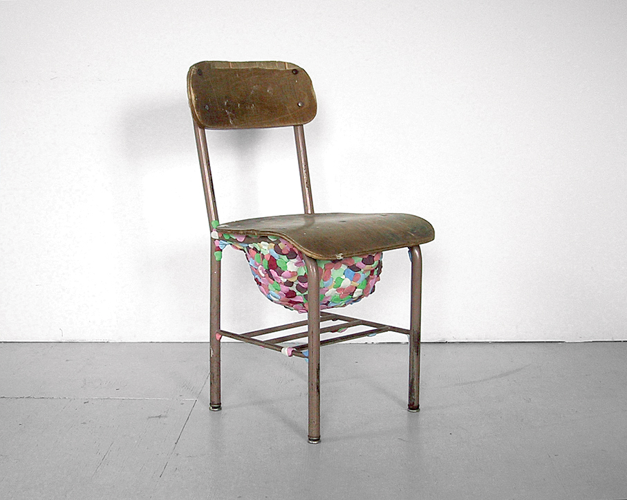 "For the exhibition ""Repair Shop,"" ten designers were asked to repair a salvaged chair; Miller contributed this piece, entitled ""Kids Have No Respect""."