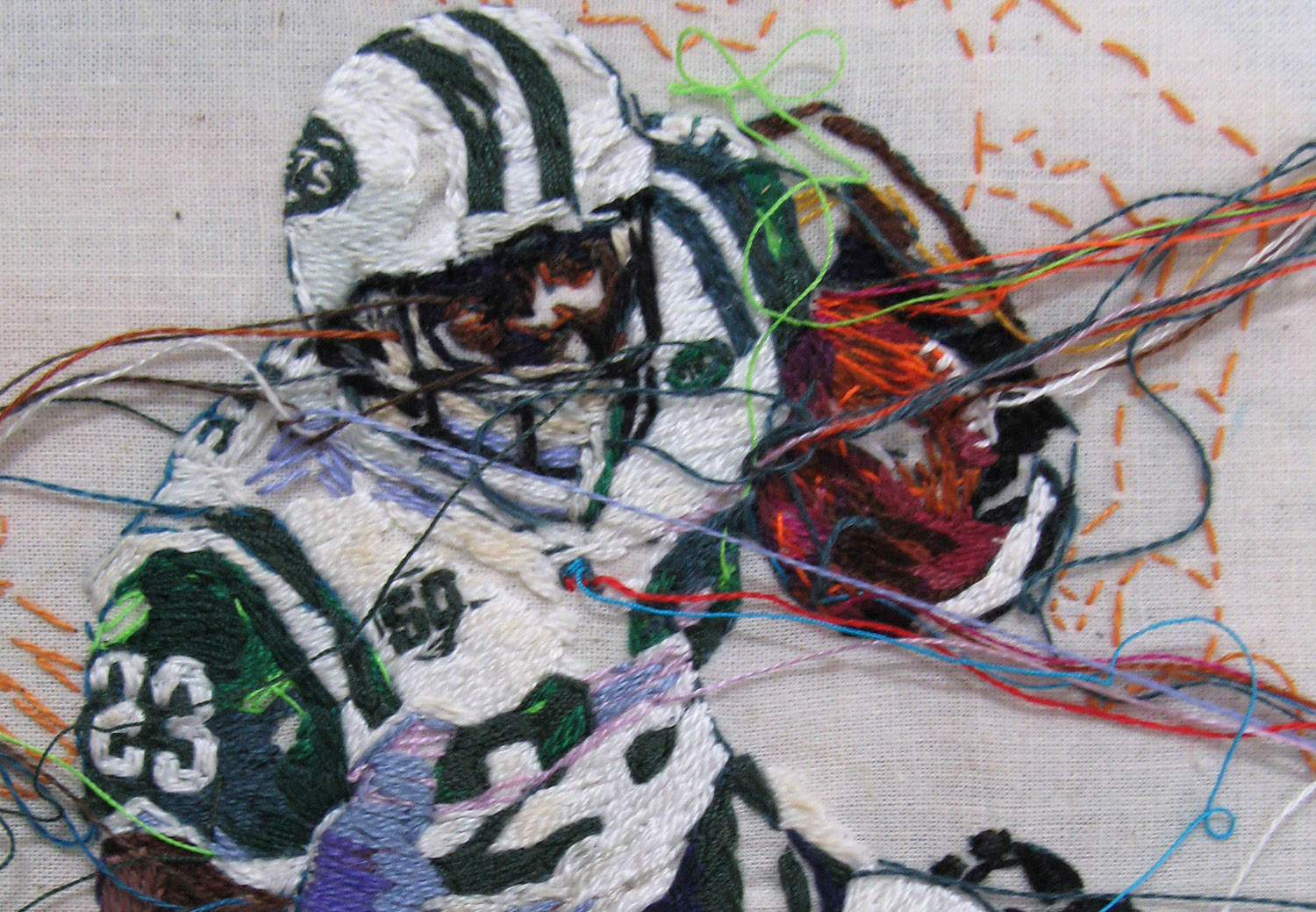 A detail of <i>Shonn Greene</i> by artist Lauren DiCioccio, which shows the intricate embroidered patterns employed in her work. Image courtesy of the artist and the Jack Fischer Gallery.