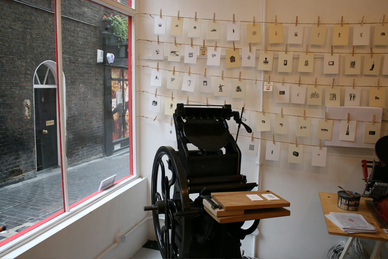 london letterpress interior pop up