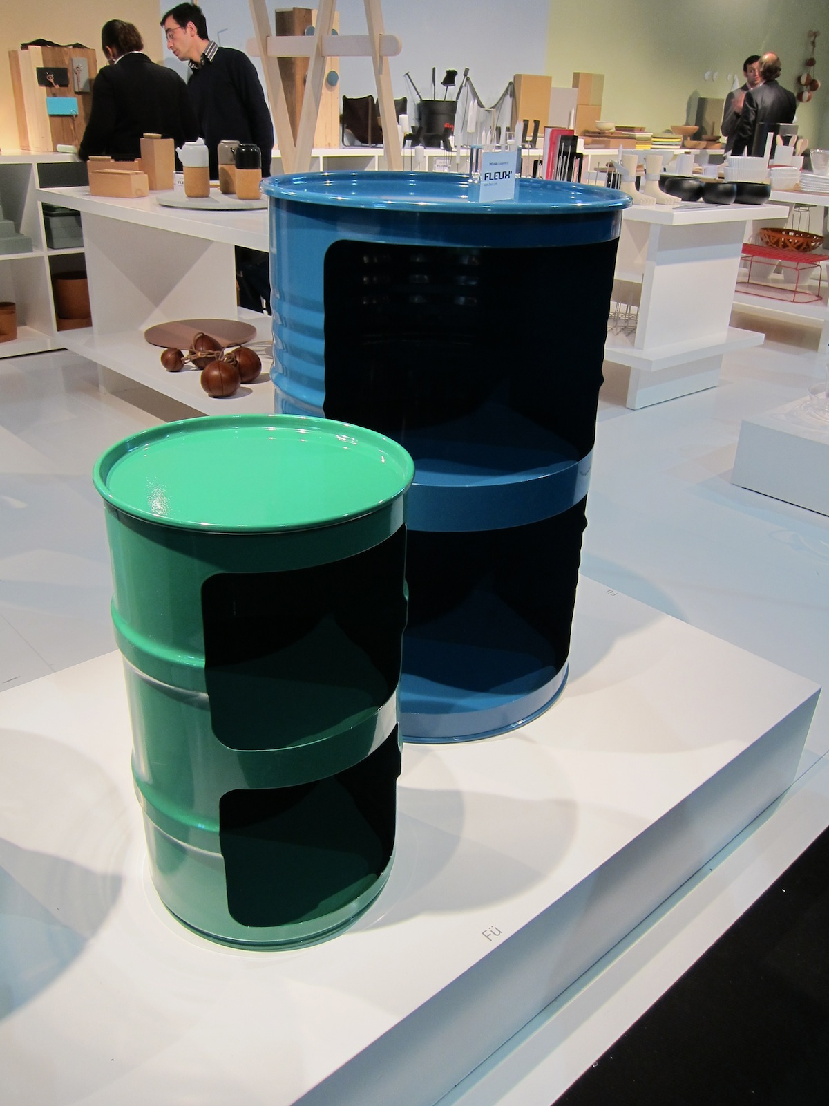 One of my favorite discoveries was the four-year-old company Eno Studio, which commissions projects from emerging and established designers, many of them French. Here's one of the products they premiered at the fair: storage made from recycled oil drums p