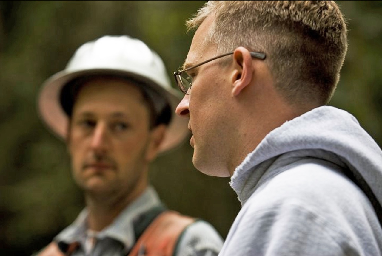 Maxon consults with International Forestry's Matt Rourke prior to the thinning operation on site.