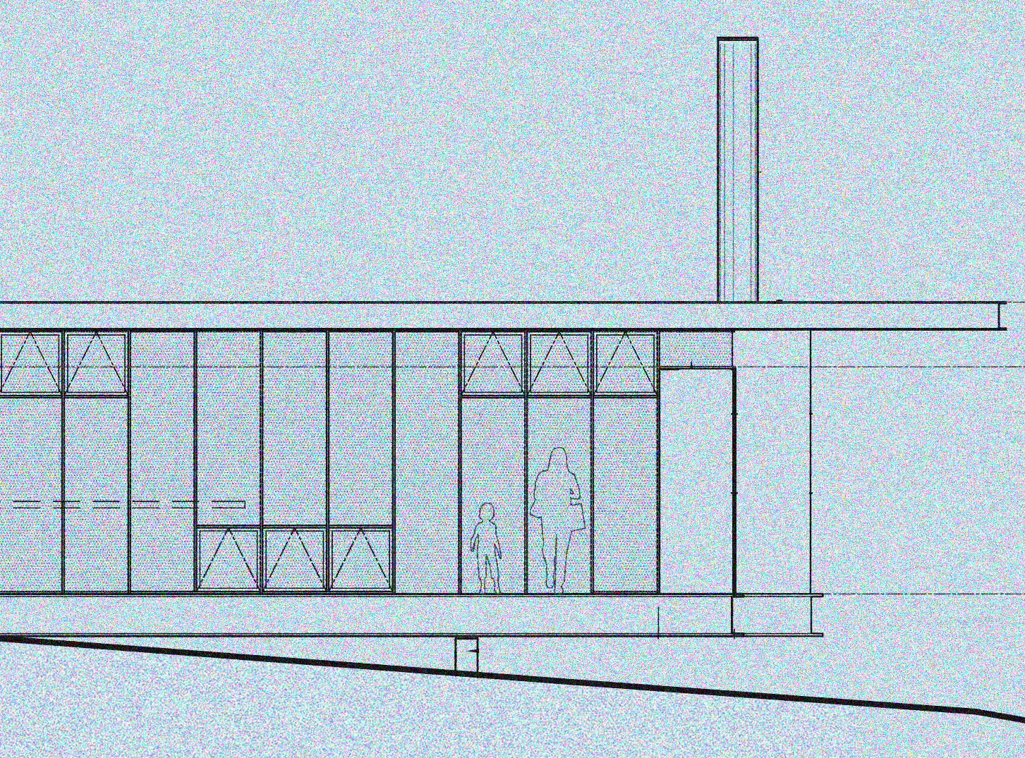 An exterior elevation view of the proposed cantilever section of Maxon House. Here you can see the mix of different window options. The exterior will feature steel rainscreen panels that will weather and oxide to various patinas over time, becoming almost