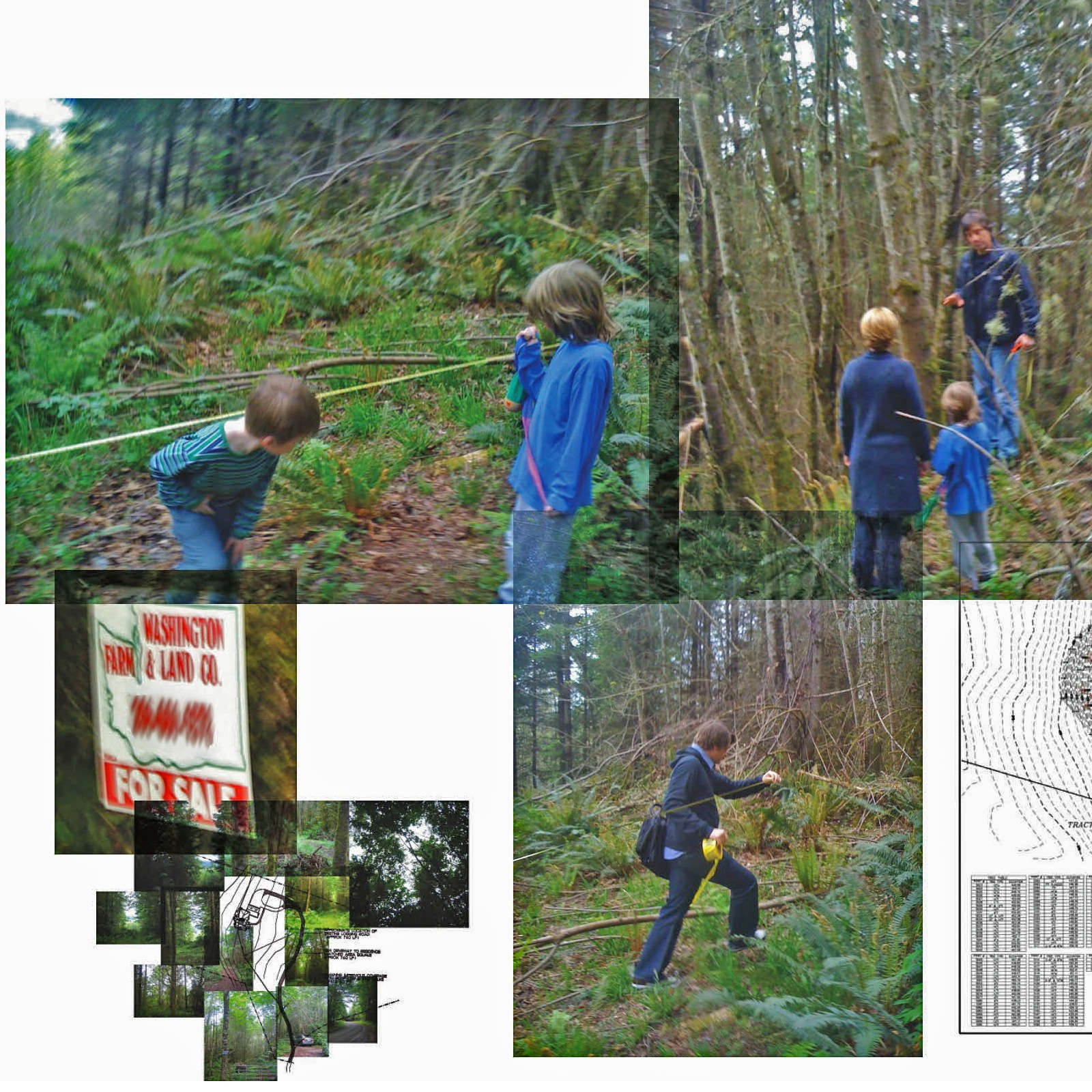 Scenes from the site visit with Olson Kundig. Top left: Jack (left) and Henry (right) check out the proposed outline of the house. Tom Kundig explains prospect and refuge to Kim and Henry. Bottom left: the property sign outside the entrance to the site. B