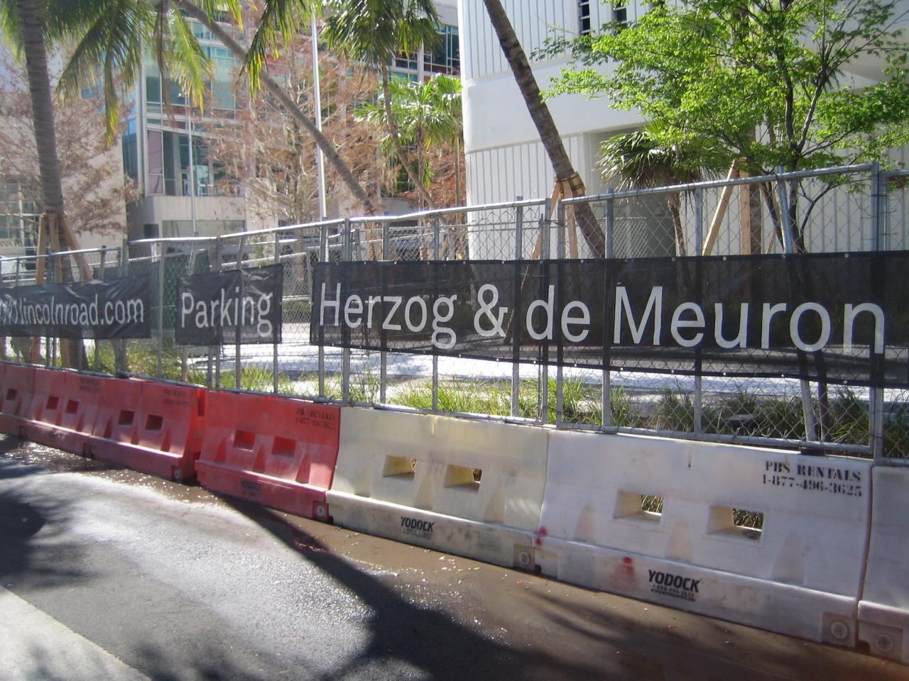 miami Herzog de Meuron Parking Garage sign