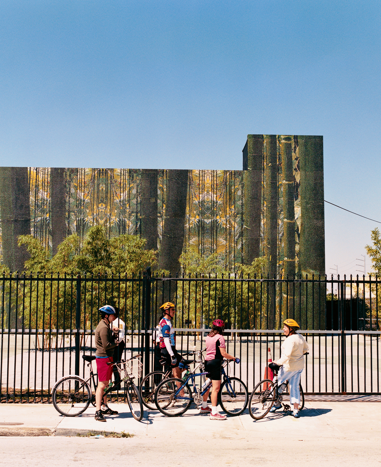 Beginning the tour in North Miami, at the recently opened permanent space of the Cisneros Fontanals Art Foundation, Cathy Leff (far right) readies her tourists for a long day of cycling and sight-seeing.