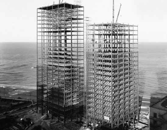 The Lake Shore Drive apartments, in the process of being built, circa 1950. Image courtesy Chicago History Museum.