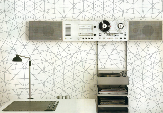 "The graphic <a href=""http://www.minakaniwalls.com/rosace"">Rosace</a> print which nicely complements, say, a Dieter Rams sound system."