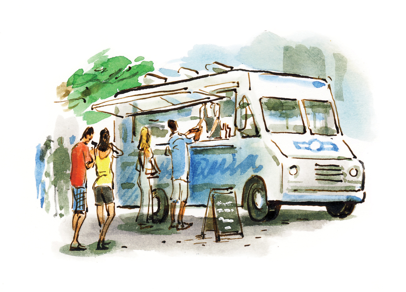mobile food dan williams illustrations