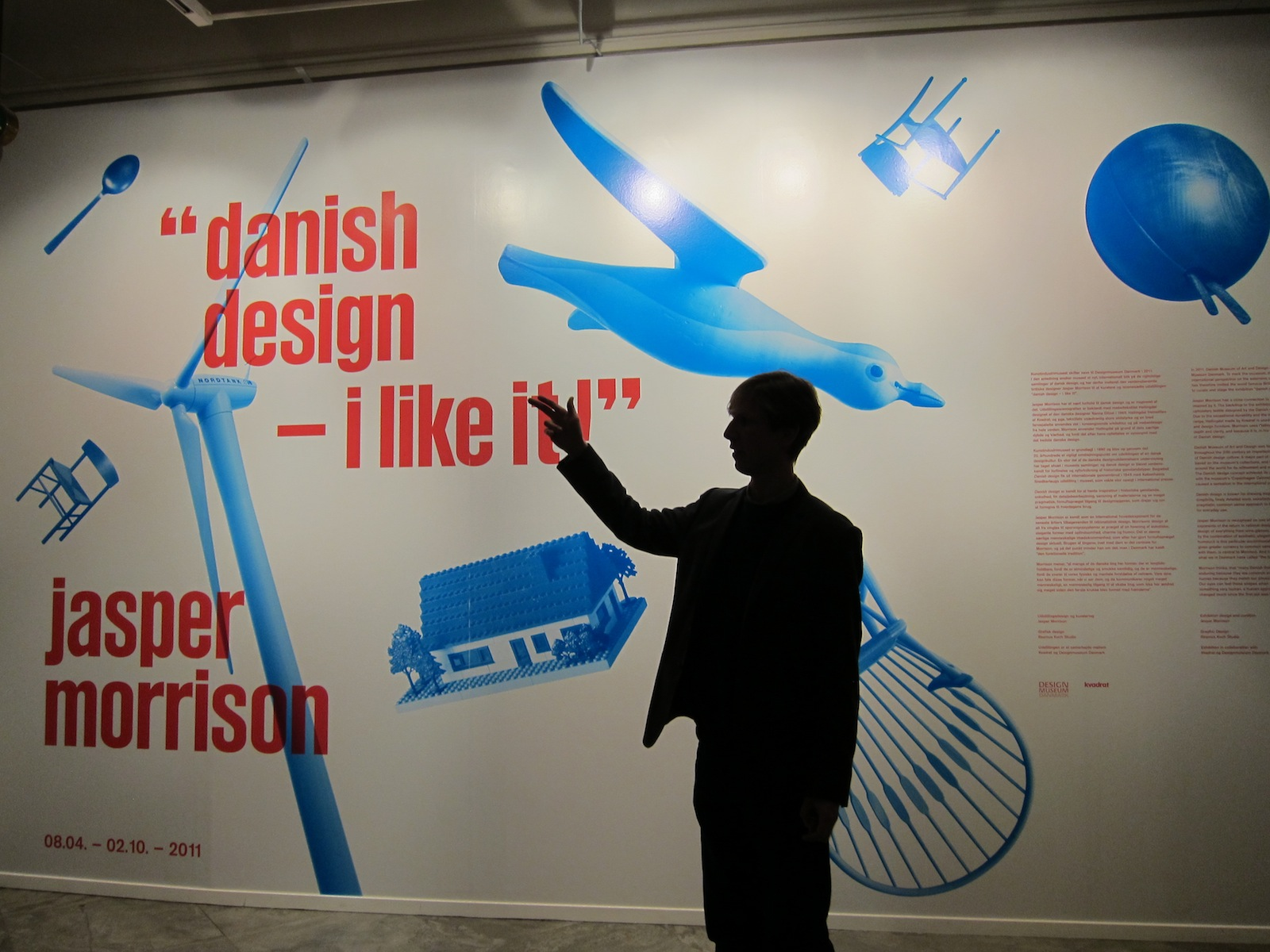 "Here's curator Christian Holmsted Olesen at the exhibition entrance. The exhibition ""is an attempt to highlight some of the qualities of Danish design, which only an outside view can give,"" Olesen wrote in the catalog."