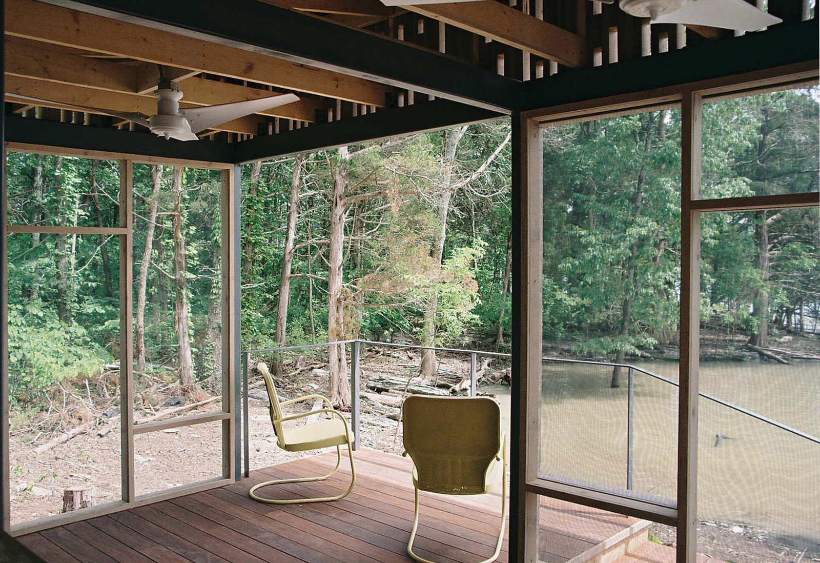"""Shelton's architect, Brandon Pace,designed and fabricated cedar panels backed with insect screens that snapped to the pavilion's steel structure, allowing assembly to be completed on site in just three days. <a href=""""http://www.dwell.com/articles/not-so-s"""