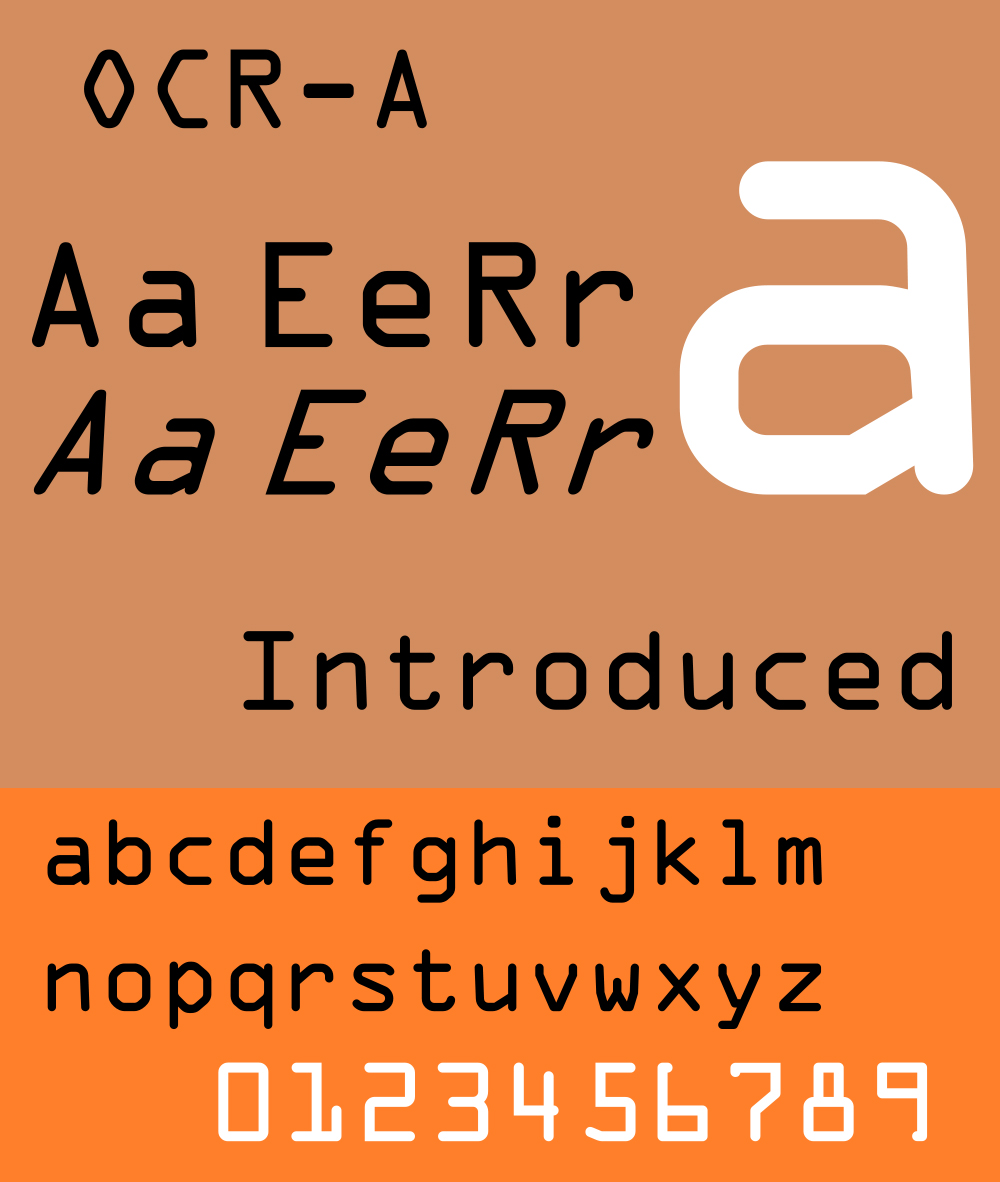 """The 1960's marked a moment where typographers began experimenting in the digital realm. """"OCR-A"""" was by the American Type founders in 1966 and is the oldest typeface included in the group of 23 recently acquired by MoMA."""