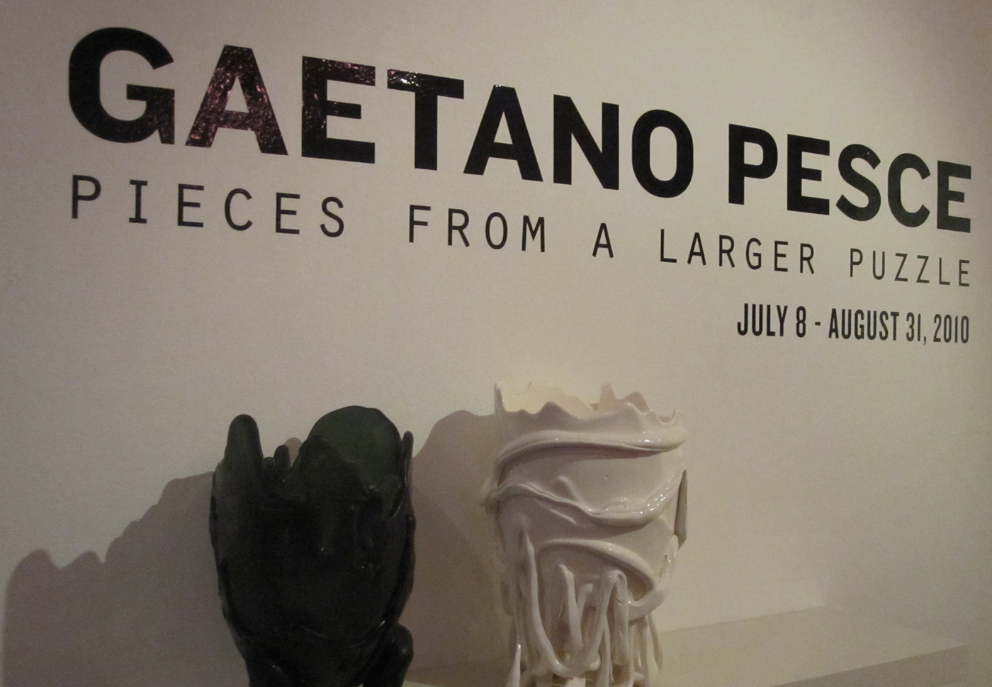 """Two vases from Gaetano's studio, Fish Design, open the exhibition, which was curated by Francesca Valente, the Istituto director and coordinator; John Geresi, banker and design devotee; and Peter Loughrey, director of <a href=""""http://www.lamodern.com/"""">Lo"""