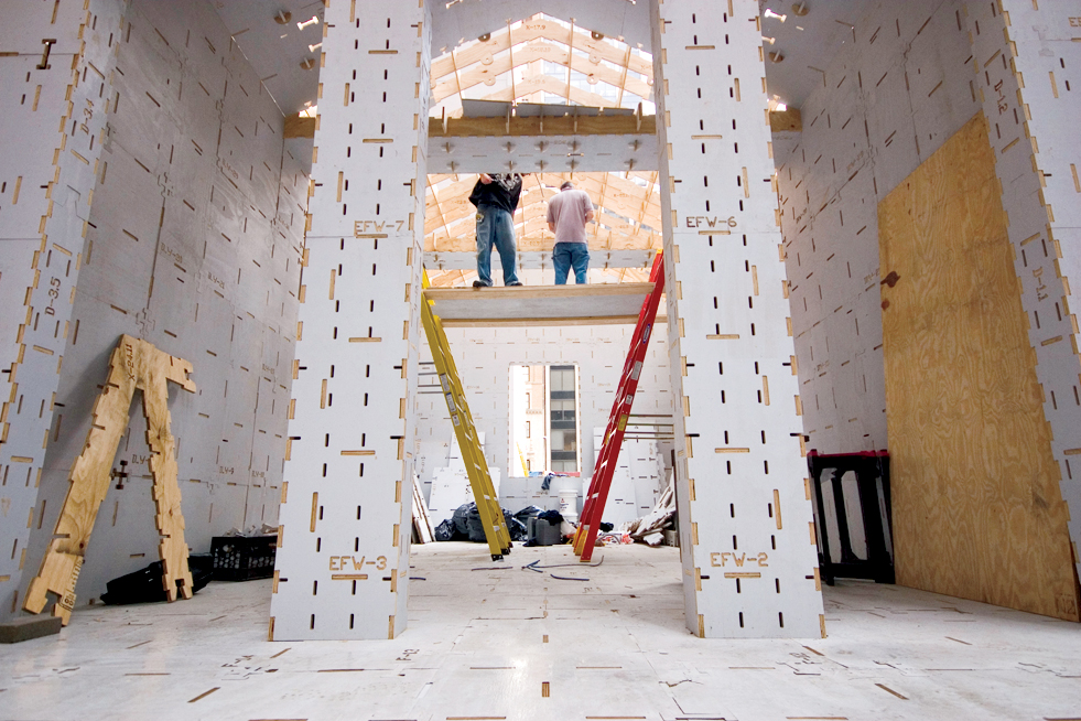 The structure, by the Digital Design Fabrication Group in the Department of Architecture at MIT, was erected at the Museum of Modern Art in New York.