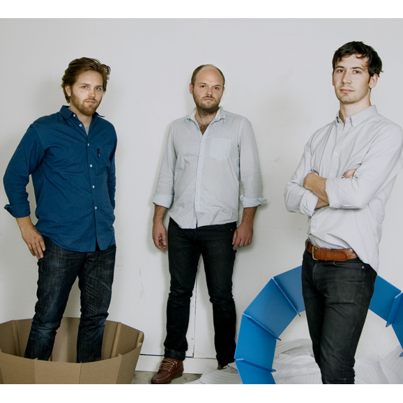 Charles Brill, Alex Williams, and Theo Richardson (from left) are the three partners of the design firm Rich Brilliant Willing.