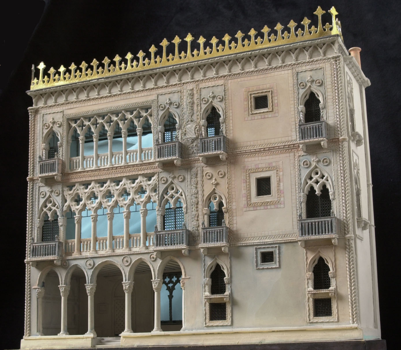 "Richards' model of the Ca d'Ora, or ""Golden House"" on the Grand Canal in Venice, is crafted from plaster, lead, brass and gold leaf, with turquoise, handmade glass windows. Courtesy <a href=""http://architectsandartisans.com/"">Architects and Artisans</a>."