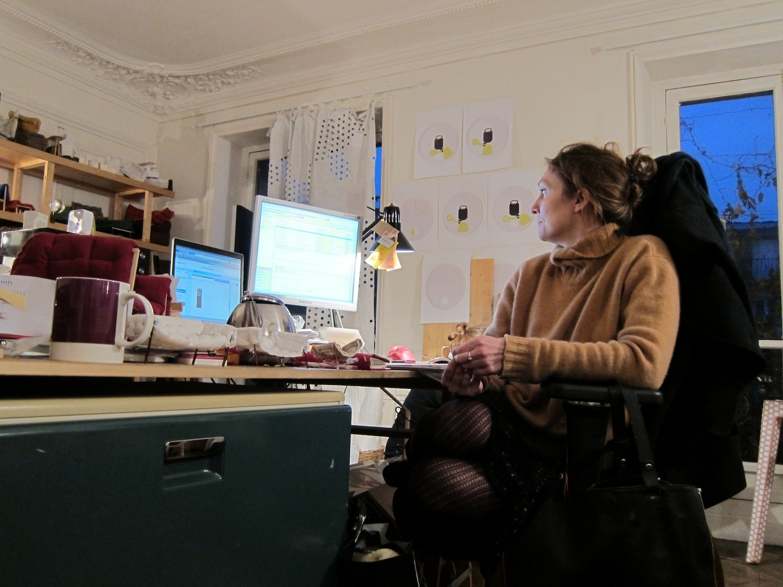 Here's Sempé in her pleasantly cluttered home studio in Paris, where she works with a handful of assistants.