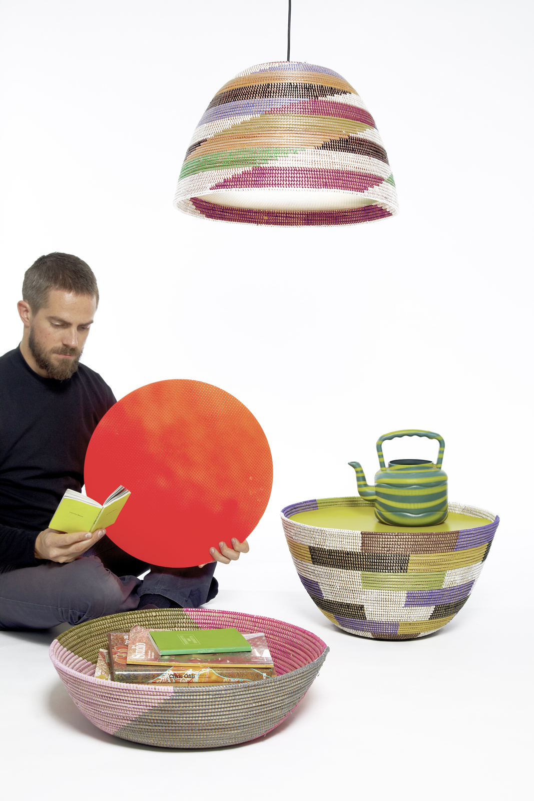 Stephen Burks, <i>Single Basket Lamps & Basket Tables with Daniel</i>, 2010. Photo by Daniel Hakansson.