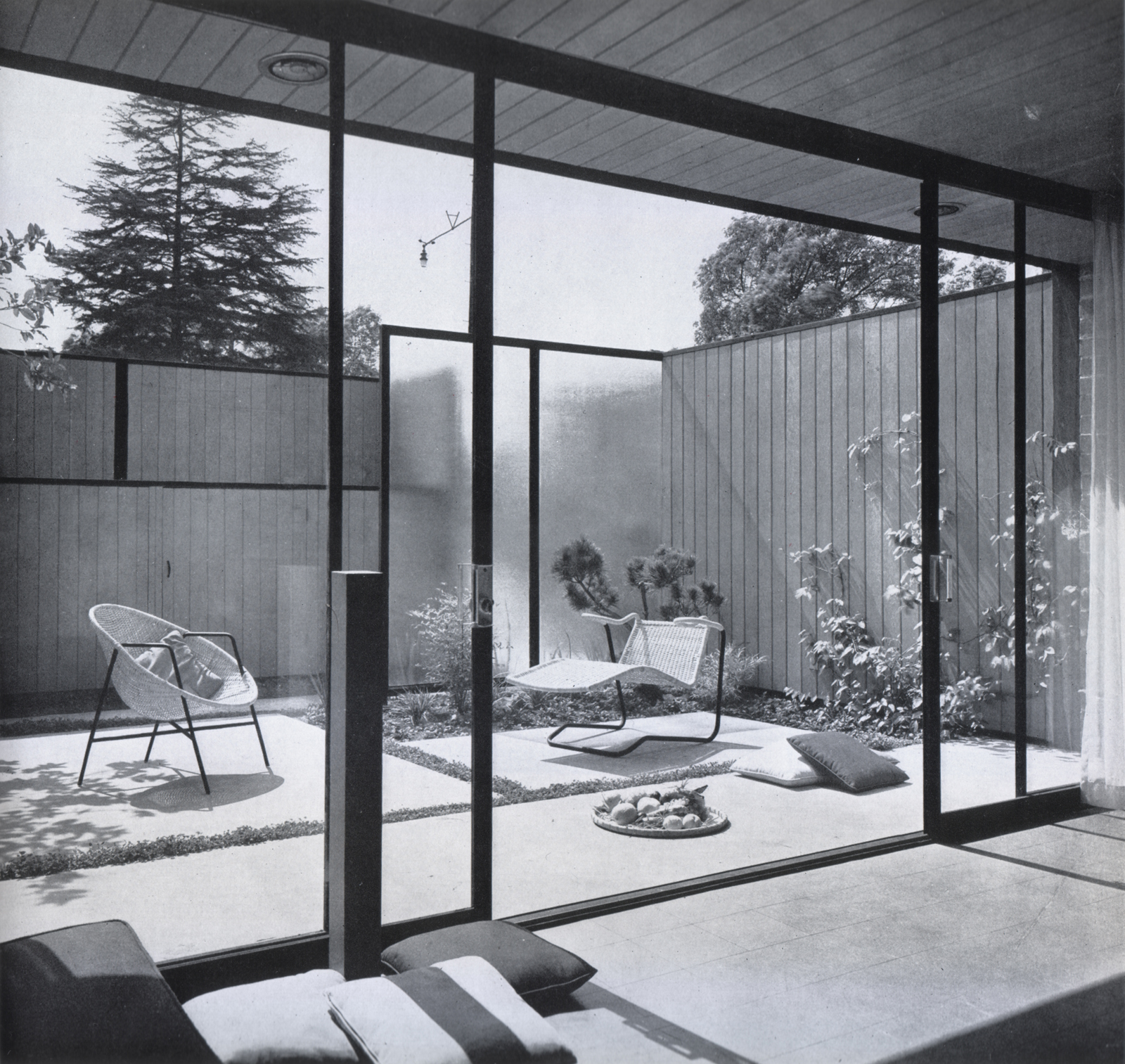 View of court from living room, 1953.