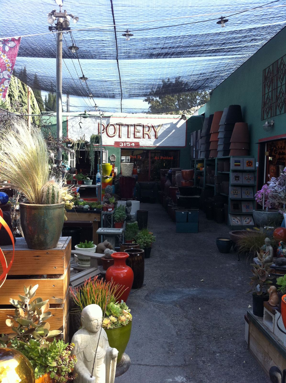 We went to Sunset Nursery, just down Sunset Blvd from us, to pick up some flats and get some new soil for our project.
