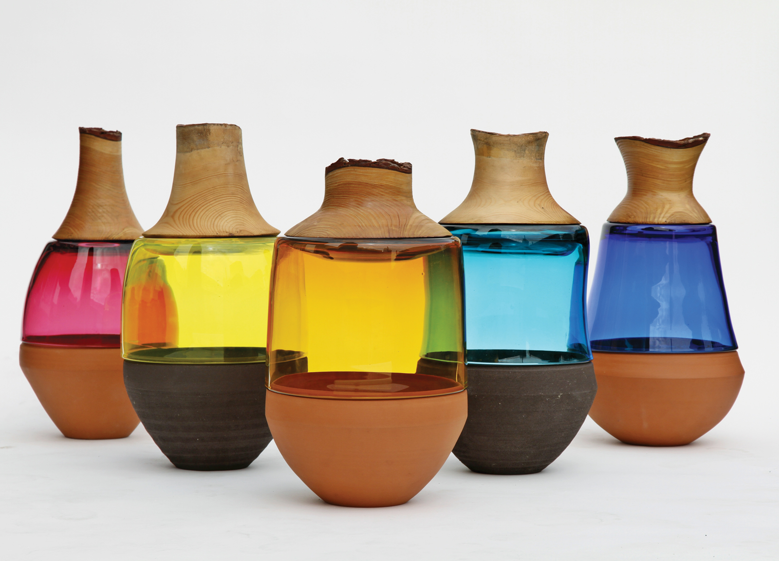 colorful clay wooden glass Stacked Vessels by Pia Wustenberg