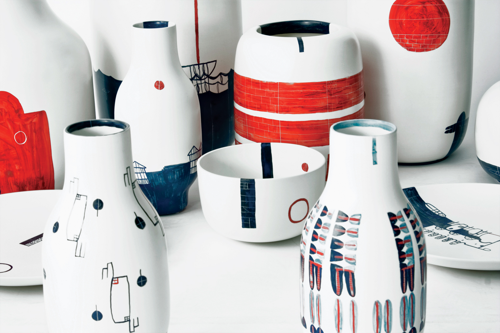 Pattern Diary colorful ceramic plates and vases by Renee Rossouw