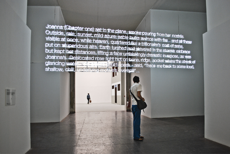 "Cerith Wyn Evans opened with neon text from ""The Changing Light at Sandover,"" a poem by James Merrill -- where the protagonist's setting, like that of this physical text, evokes a sense of suspension in space."