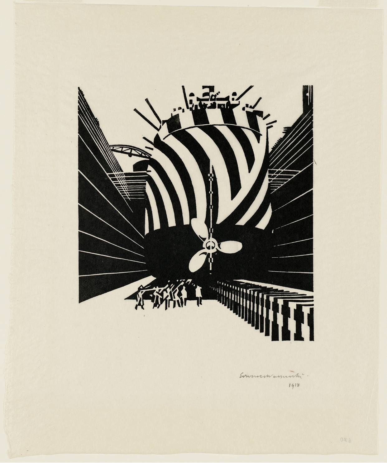 "This woodcut by Edward Wadsworth was one of my favorites of the show, not just for the woozy geometry and bracing perspective, but because it's so clearly enthralled with the machine age. Entitled ""Drydocked for Scaling and Painting (Liverpool),"" it's one"