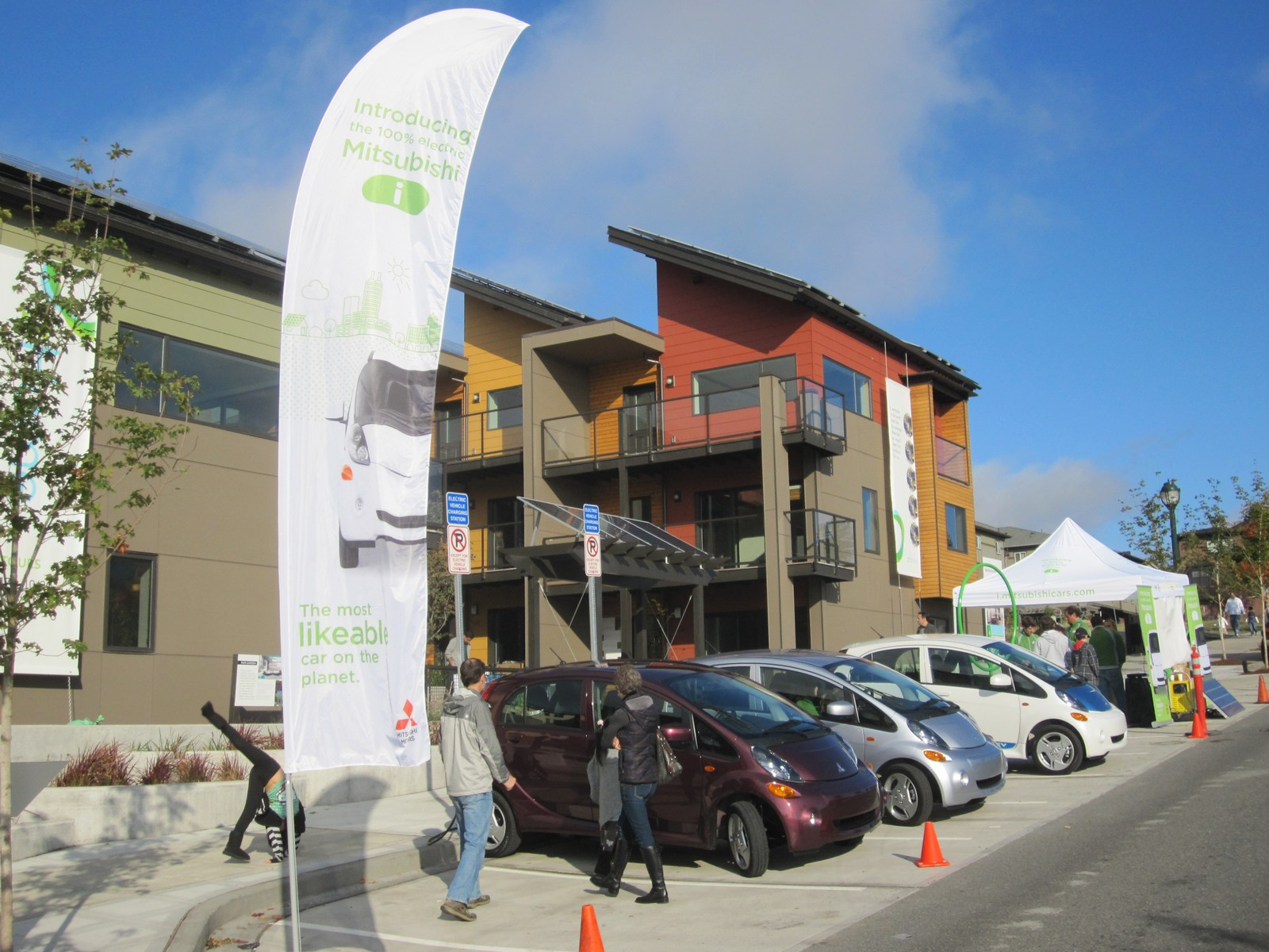 We partnered with Mitsubishi to do a test drive event for their new i electric vehicle. The lowest carbon footprint townhome community in the US meets the lowest carbon footprint vehicle in the US! The i is a great urban car with a MPG equivalent of 112.