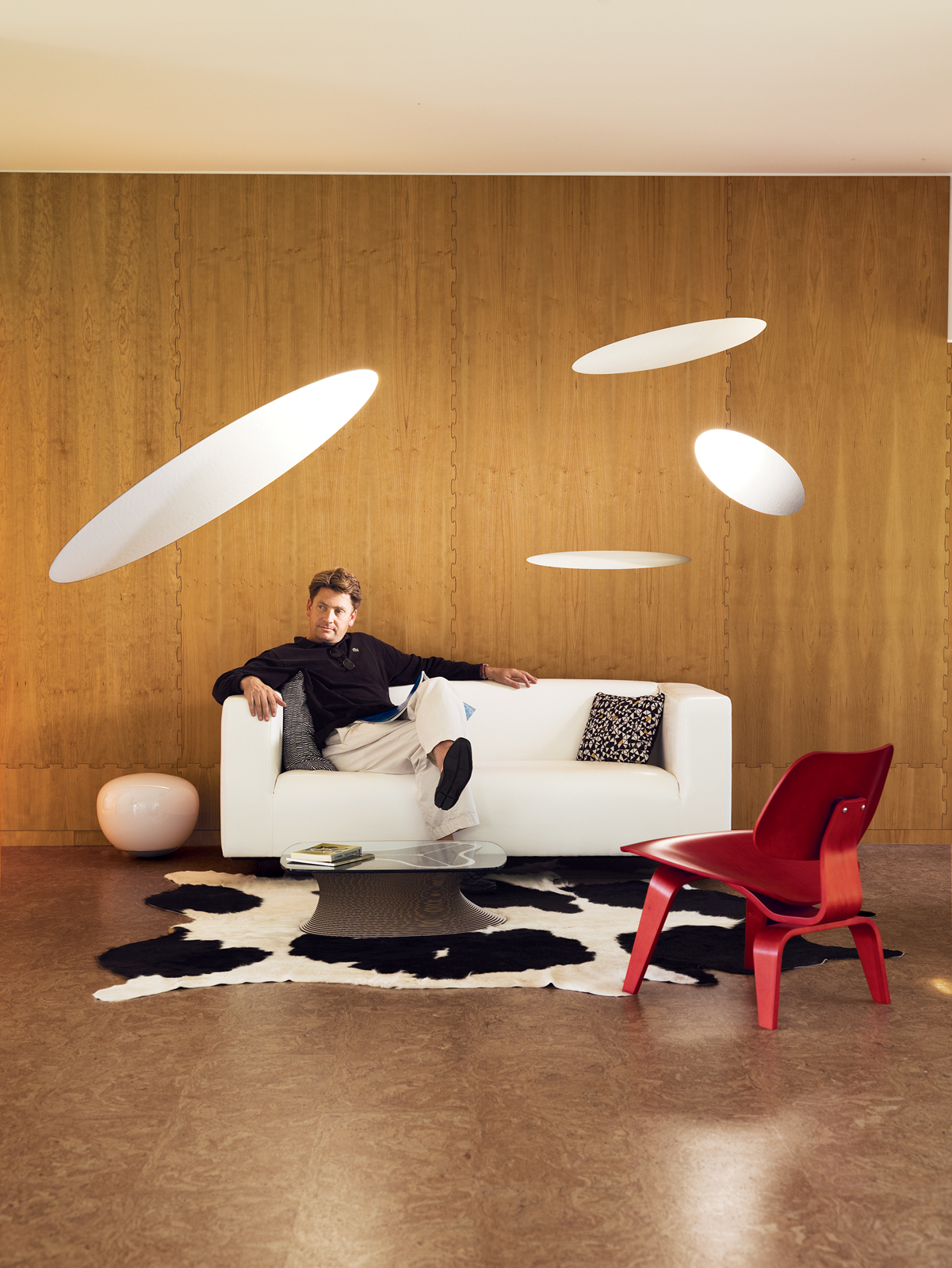 William Massie relaxes inside the utterly unique interior of his America House 08.