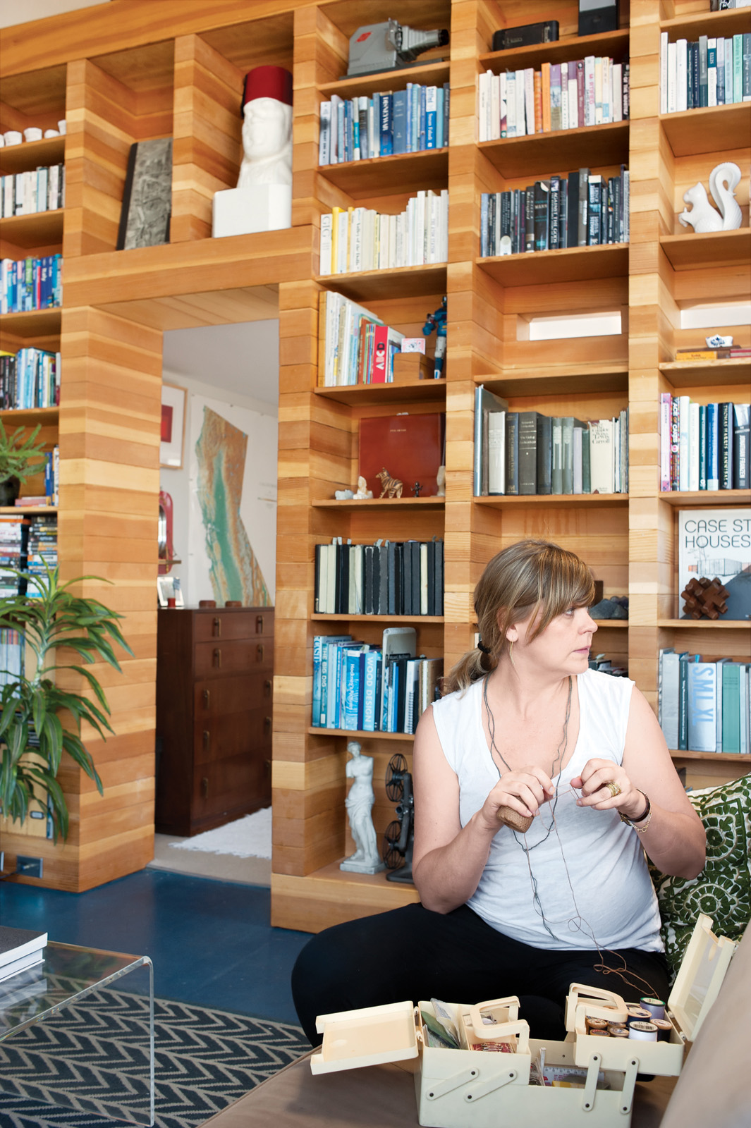 Modern bookshelf in a renovated home