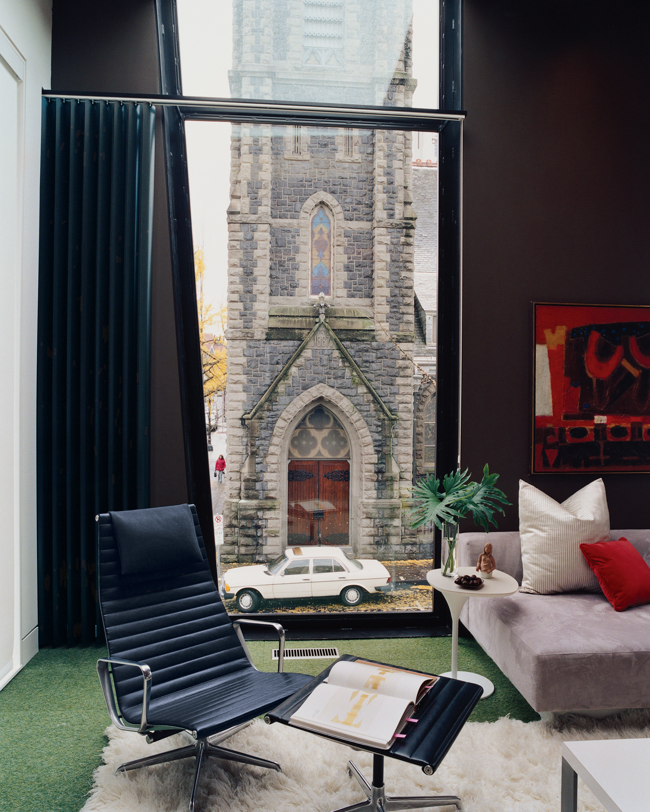 The most dramatic view in the apartment, the First Presbyterian Church looms large in the Kovel living room.
