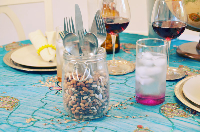 Flatware in a mason jar.