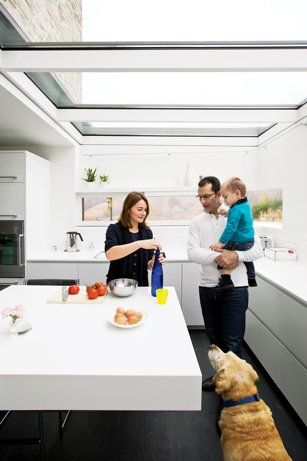 family dining in modern kitchen