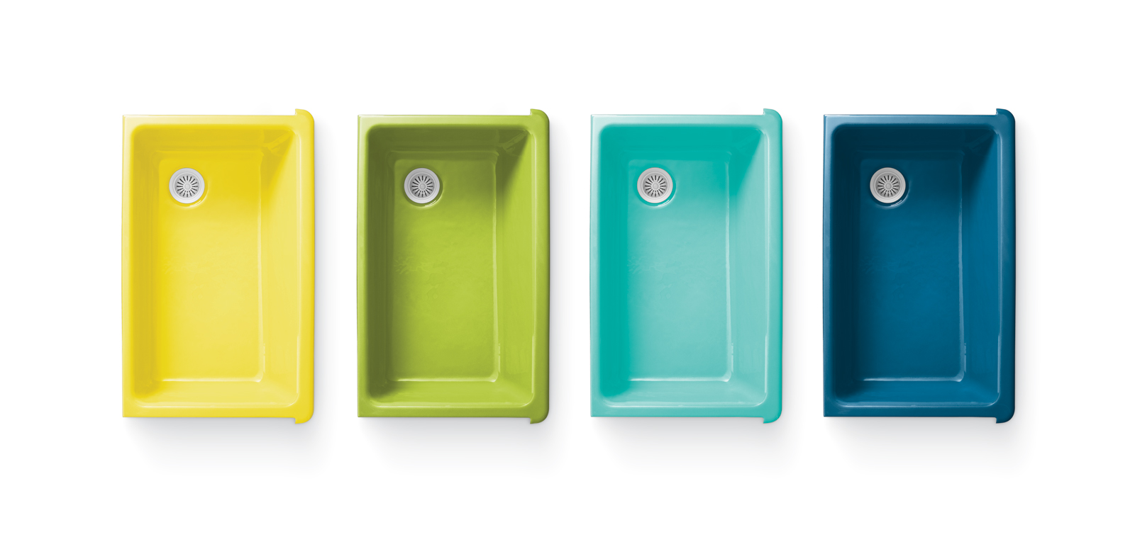 Colorful enameled cast-iron sinks by Jonathan Adler