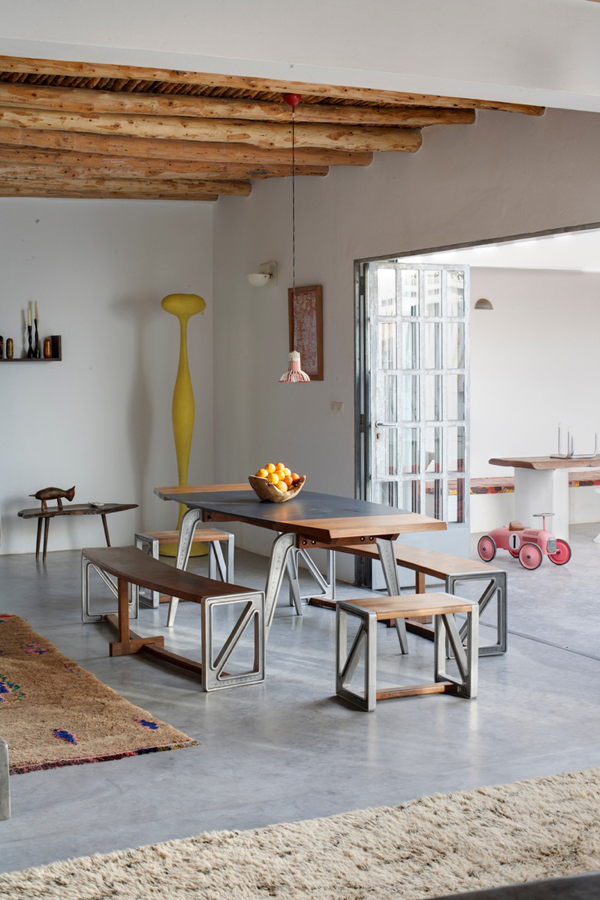 Modern dining room with wood-and-metal table and chairs