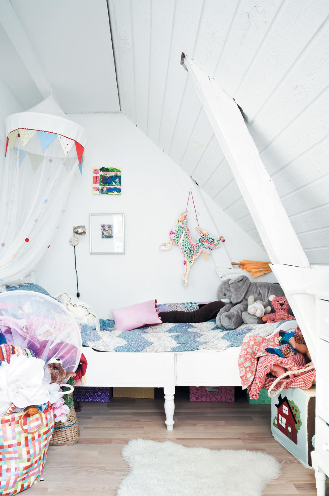 Colorful children's room in attic