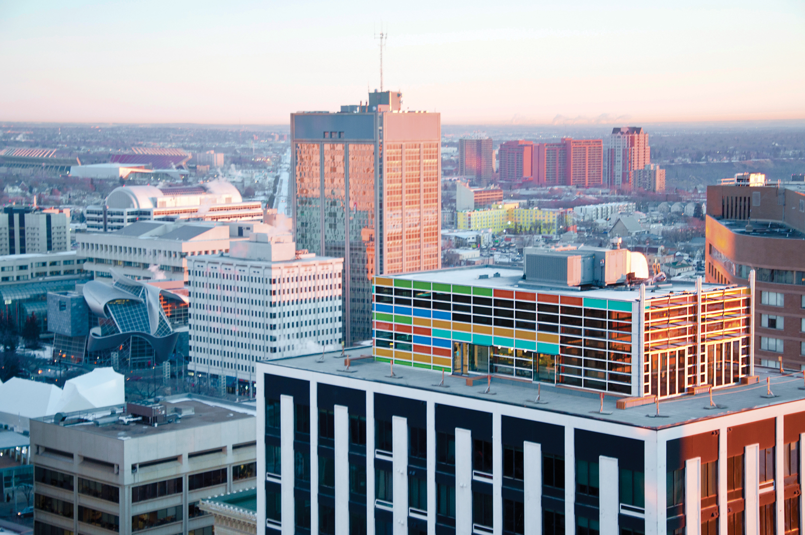 Aerial view of the Cambridge Lofts Penthouse in Edmonton, Alberta